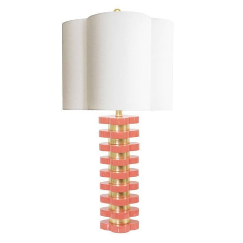 Couture Lamps Quatrefoil Lamp in Coral