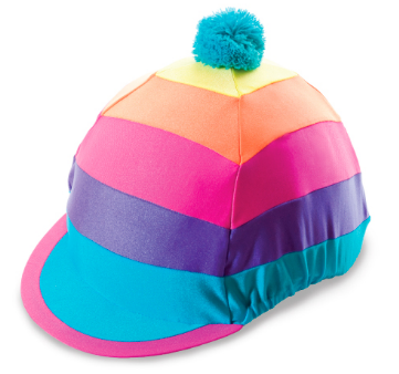 Hat Cover - Bright Stripe Pom Pom
