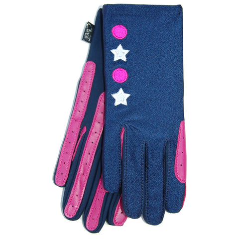 Gloves - X Country Theme Pink Stars & Spots