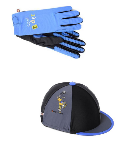 Hat Cover & Glove Set - Football  Black, Grey & Blue Kids