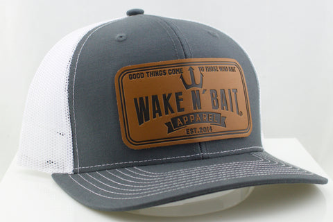 Grey and White Curved Bill Trucker w/ Real Leather Patch