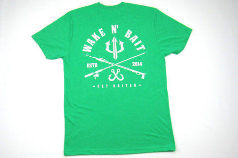 Green/White Short Sleeve Tri-blend T-shirt - Criss Cross
