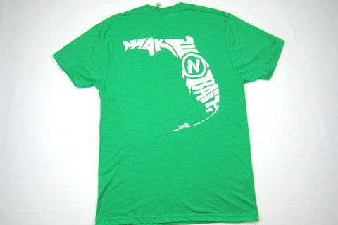 Green/White Short Sleeve Tri-blend T-shirt - Florida