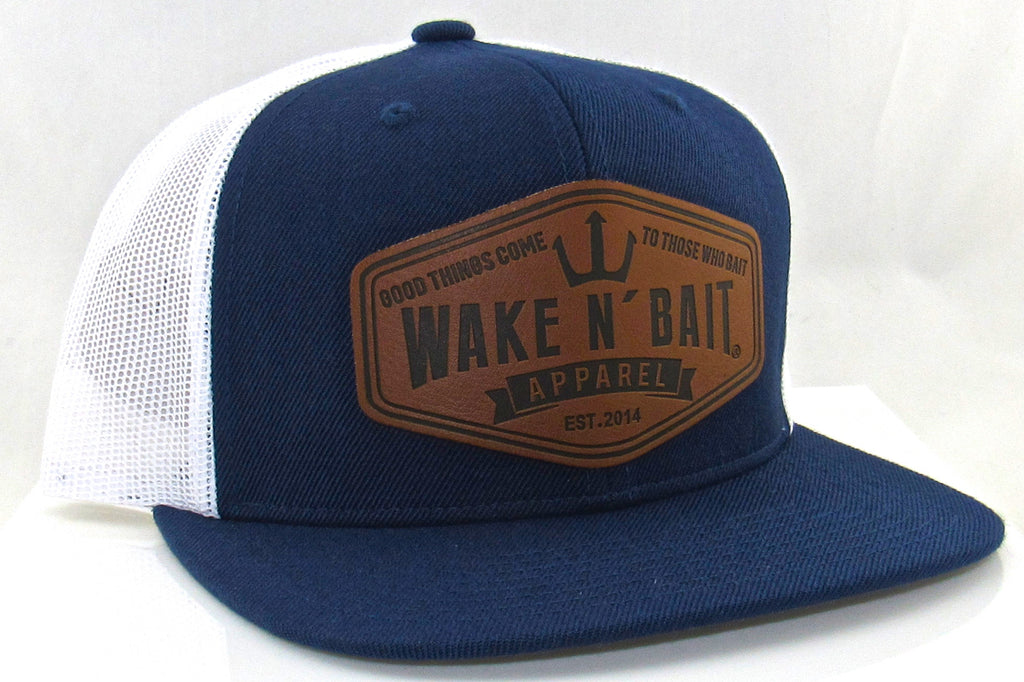 Navy Blue and White Flatbill w/ Real Leather Patch