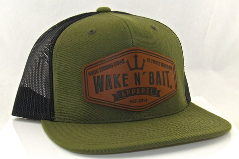 Military Green and Black Flatbill w/ Real Leather Patch