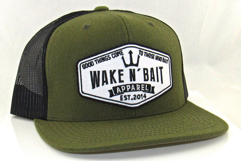 Military Green and Black Flatbill w/ Embroidered Patch