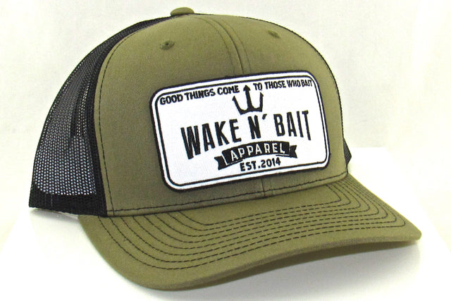 Military Green/Black Curved Bill Trucker w/ Embroidered Patch