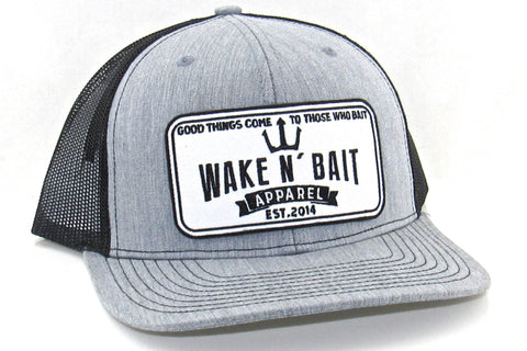 Heather Grey/Black Curved Bill Trucker w/ Embroidered Patch
