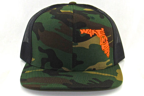 Camo/Black FlatBill Snapback w/ Orange Florida