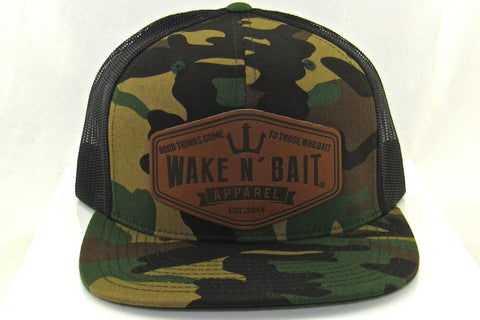 Camo/Black FlatBill Snapback w/ Leather Patch