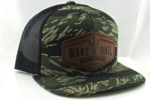 RealTree Camo/Black FlatBill Snapback w/ Leather Patch