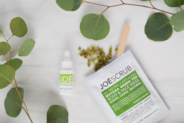 Natural JOE Organic Camu Camu Under Eye Nectar + JOESCRUB Matcha Body & Face Mask Review by Sun Kissed Kate Clean Beauty Blog