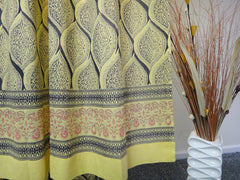 Fading Sun~Vintage Yellow & Urban Gray Window Curtains~Border+Close-Up