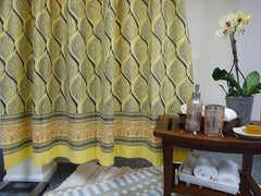 Fading Sun Shower Curtain~Yellow Gray~Border~Hand Block Printed