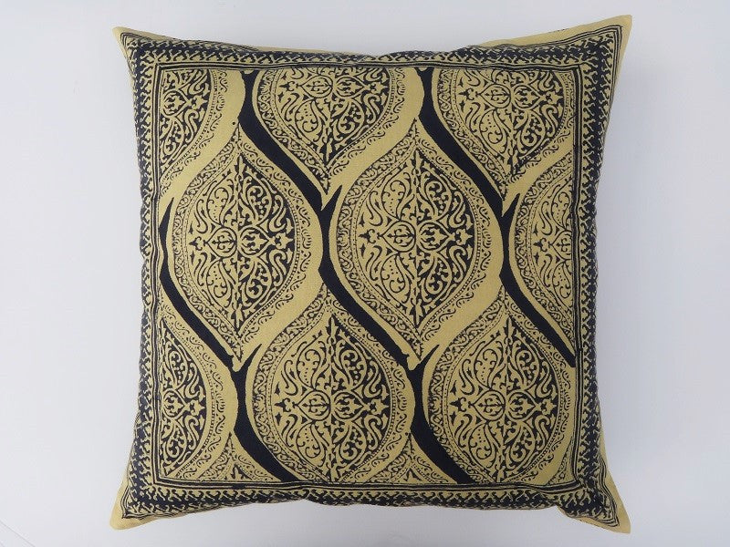 Fading Sun-Yellow & Gray Cushion Cover~Hand Block Printed