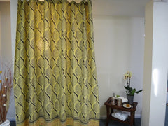 Fading Sun Shower Curtain-Full View~~Yellow Gray~Exclusive Govinds Grove Design