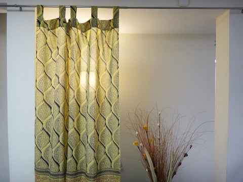 Fading Sun~Vintage Yellow & Urban Gray Window Curtains