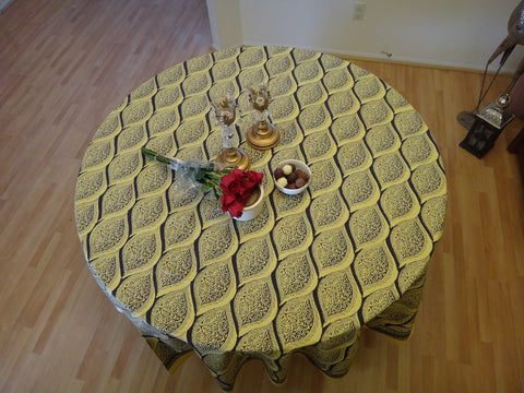 Fading Sun Table Cloth~Round~Muted Yellow Gray~Vintage Look