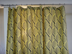 Fading Sun Shower Curtain-Top View~Yellow Gray Vintage Look