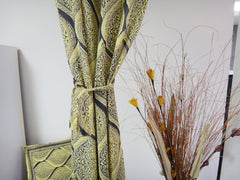 Fading Sun~Vintage Yellow & Urban Gray Window Curtains~With Complimentary Matching Ties