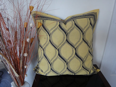 Fading Sun-Yellow & Gray Euro Sham~~Hand Block Printed