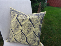 Fading Sun-Yellow & Gray Cushion Cover-On Couch~Handmade