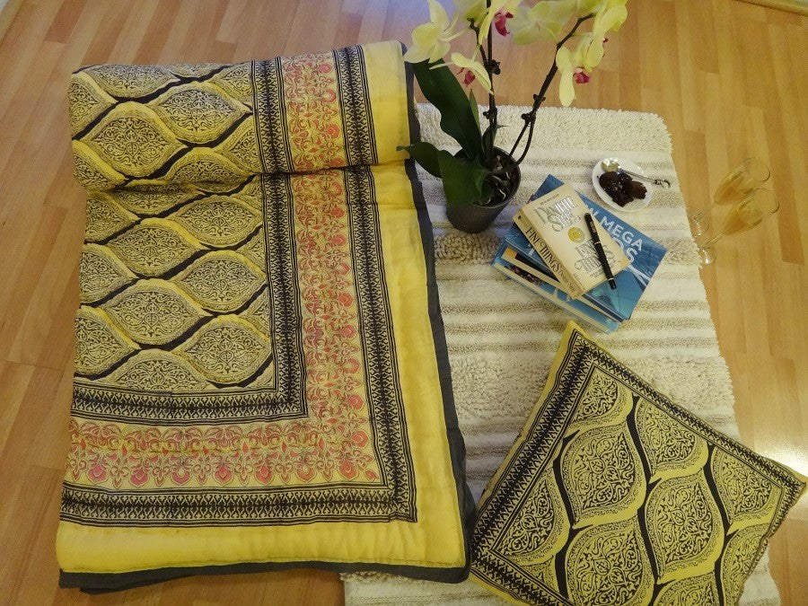 Fading Sun Quilt~Styled With Cushion~Hand Block Printed