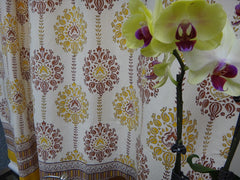 Lotus Garland Shower Curtain~Exclusive Govinds Grove Design~Hand Block Pinted~Pure Cotton