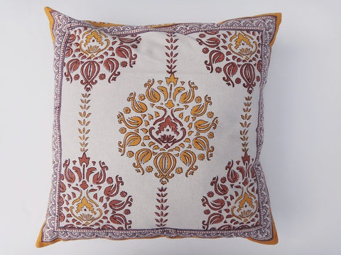 Lotus Garland Cushion Cover~Hand Block Printed