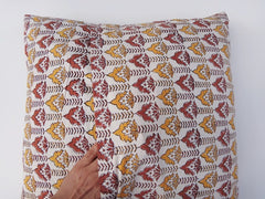 Lotus Garland Cushion Cover~Coordinated Reverse Design~Hand Block Printed