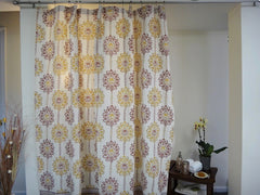 Lotus Garland Shower Curtain~Hand Block Pinted~Pure Cotton~Full View