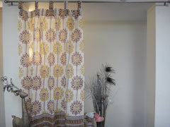 Lotus Garland Window Curtains~Full View~Cotton Voile~Hand Block Printed