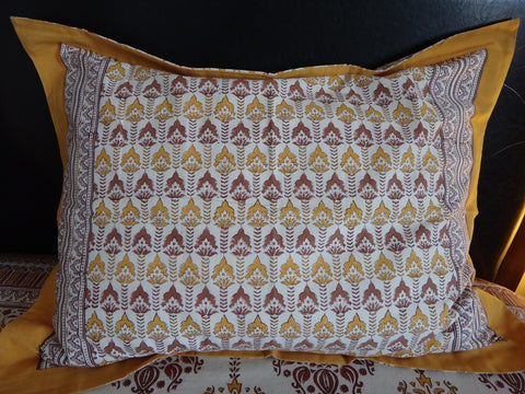 Lotus Garland Pillow Sham~Hand Block Printed