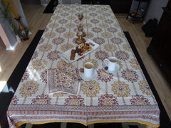 Lotus Garland Table Cloth~Rectangular~Family Dinner Or Thanksgiving~Hand Block Printed