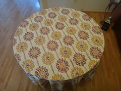 Lotus Garland Table Cloth~Round~Handmade~Pure Cotton
