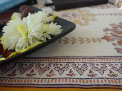 Lotus Garland Table Runner~Hand Block Printed~Exclusive Govinds Grove Design
