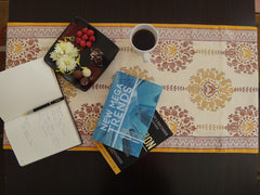 Lotus Garland Table Runner~Hand Block Printed~Coffee-Book Companion