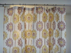 Lotus Garland Shower Curtain~Border~Hand Block Pinted~Pure Cotton~Top View