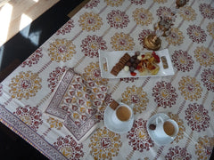 Lotus Garland Table Cloth~Hand Block Printed~Exclusive Govinds Grove Design