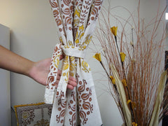 Lotus Garland Window Curtains~Complimentary Tie~Cotton Voile~Handmade~Exclusive Govinds Grive Design