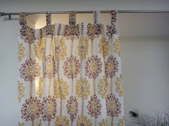Lotus Garland Window Curtains~Tab Top View~Cotton Voile~Hand Block Printed
