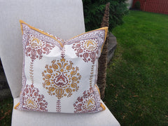 Lotus Garland Cushion Cover~Exclusive Govinds Grove Design~Hand Block Printed