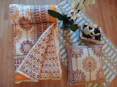 Lotus Garland Quilt~Autumnal Picante Topaz~Hand Block Printed~Cushion+Bedspread Coordinated