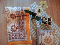 Lotus Garland Quilt~Autumnal Picante Topaz~Cushion+Bedspread Coordinated~Hand Block Printed