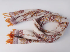 Lotus Garland Scarf~Hand Block Printed~Around The Neck View