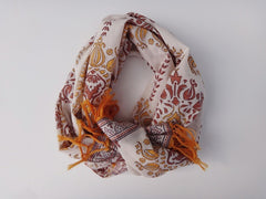 Lotus Garland Scarf ~Hand Block Printed~Rolled View