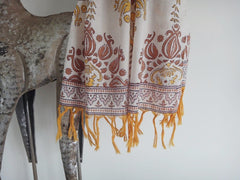 Lotus Garland Scarf~Hand Block Printed~Pure Cotton Voile~ Border+Close-Up View