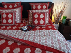 Mughal Glory~Designer Red Duvet Cover~Great Holiday Gift~Exclusive Reverse Design
