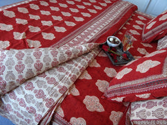 Mughal Glory~Designer Red Duvet Cover~Coordinated Pillow Shams~Handmade