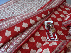 Mughal Glory~Designer Red Duvet Cover~Ideal Handcrafted Gift